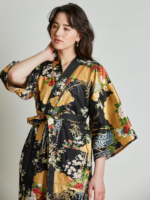 Japanese Floral Black Kimono Robe close-up