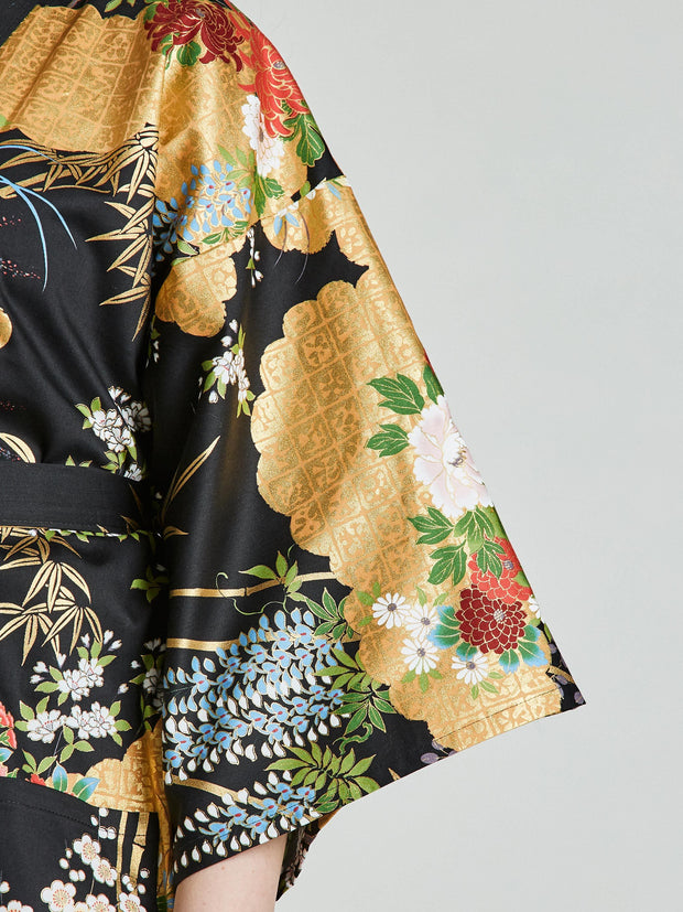 Japanese Floral Black Kimono Robe sleeve close-up