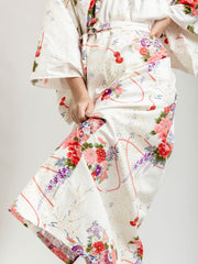 White Temari Long Kimono Robe Bottom