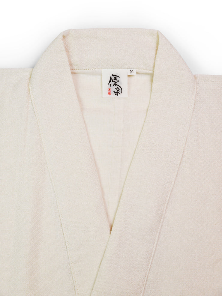 Samue Cotton Gauze Pajama Set in Ivory Jacket Collar