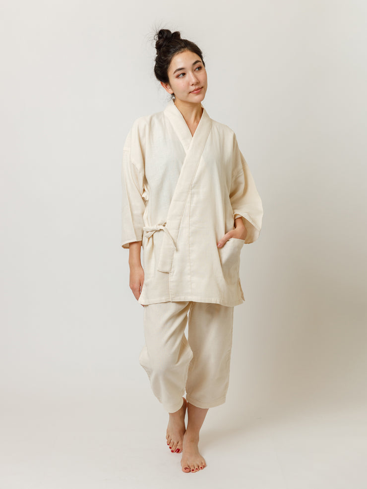 Samue Cotton Gauze Pajama Set in Ivory