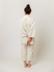 Samue Cotton Gauze Pajama Set in Ivory Back