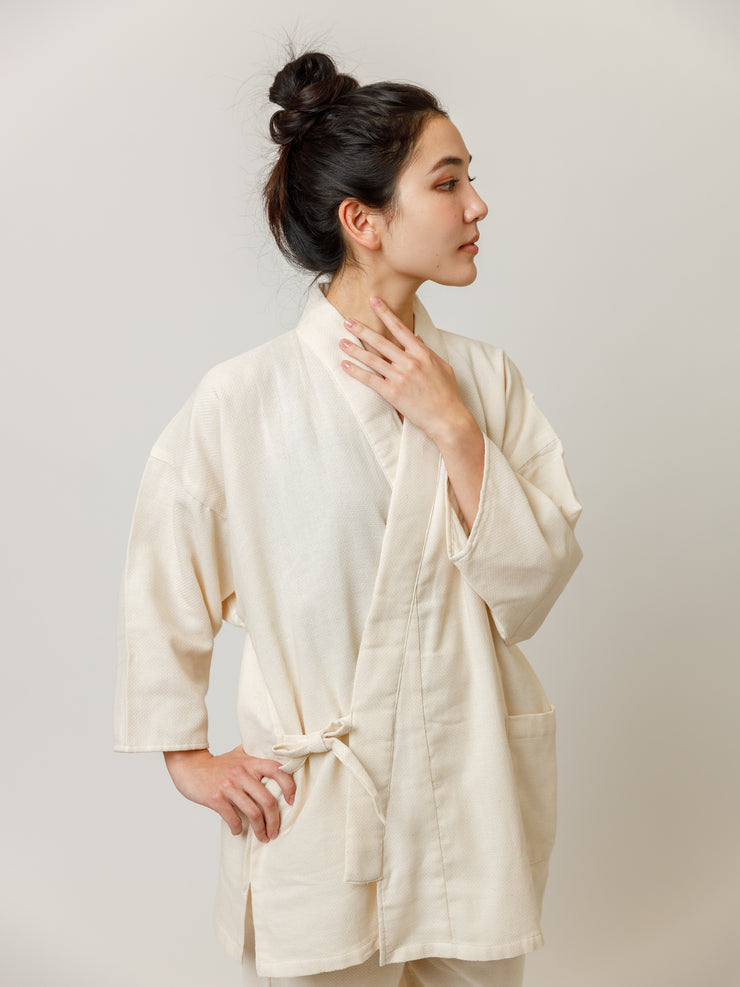Samue Cotton Gauze Pajama Set in Ivory Jacket