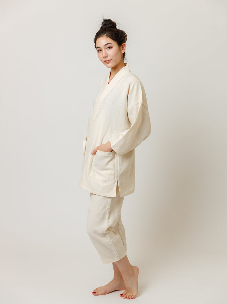 Samue Cotton Gauze Pajama Set in Ivory Side