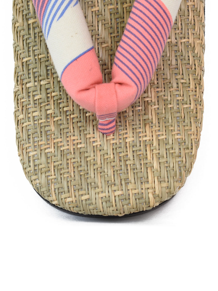 Grass Woven Setta Japanese Sandals in Peach