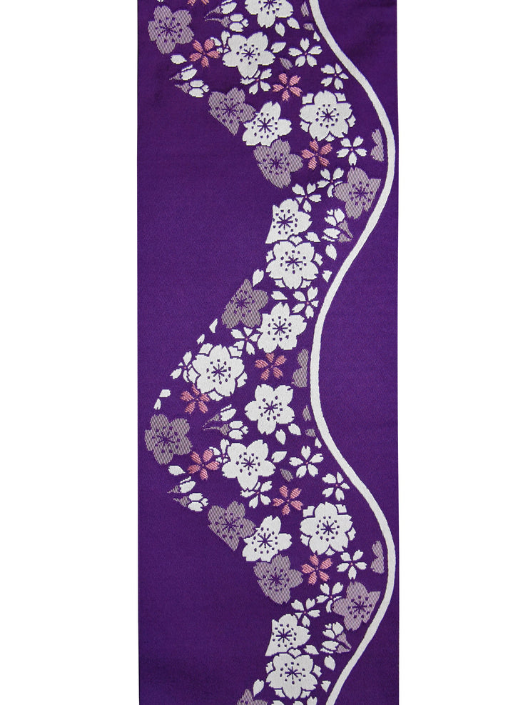 Reversible Sakura Purple Obi Belt front side