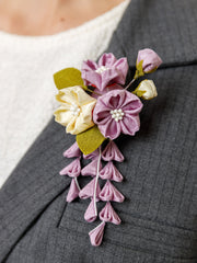 Sakura Bouquet Kanzashi Silk Brooch