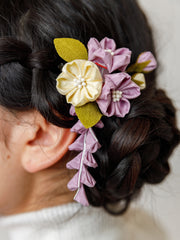 Sakura Bouquet Kanzashi Silk Hair Clip