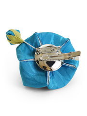 Bellflower Kanzashi Silk Hair Clip/Brooch in Blue Back
