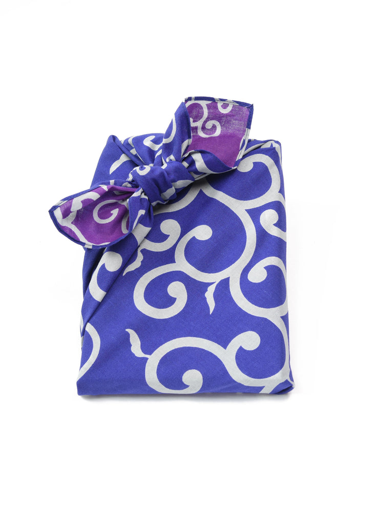 Blue Karakusa Reversible Furoshiki Gift Wrapping