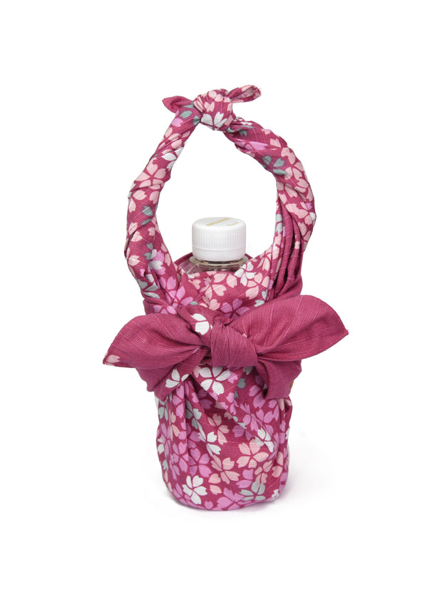 Falling Cherry Blossom Furoshiki Bottle Wrapping