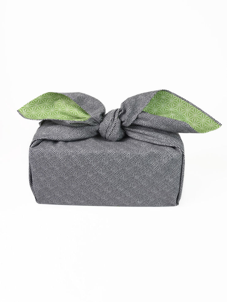 Black Samekomon Reversible Furoshiki Gift Wrapping