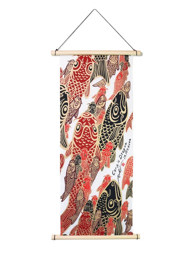 Red Koi Tenugui Tapestry