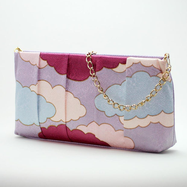 Kyo-Yuzen Silk Clutch in Lilac