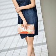 Kyo-Yuzen Silk Clutch in Black