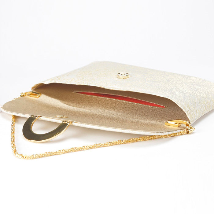 Kiku Silk Brocade Clutch Interior
