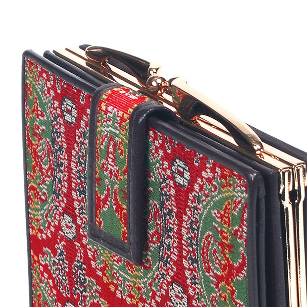 Enmon Silk Brocade Leather Clasp Wallet Clasp