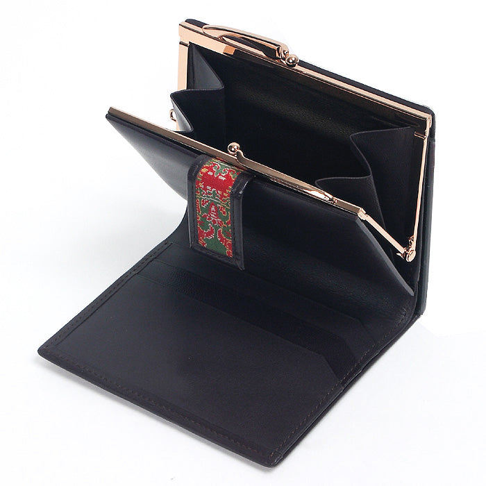 Enmon Silk Brocade Leather Clasp Wallet Interior