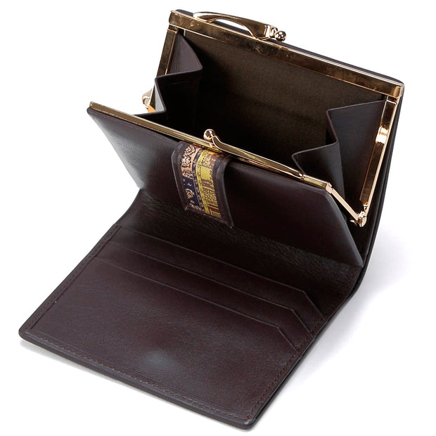 Koge Silk Brocade Leather Clasp Wallet Interior