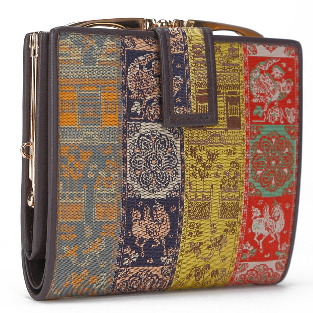 Koge Silk Brocade Leather Clasp Wallet