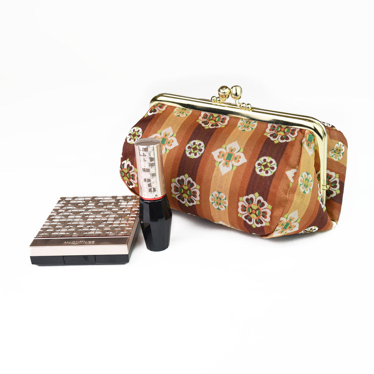 Tempyo Silk Brocade Travel Makeup Bag with Cosmetics