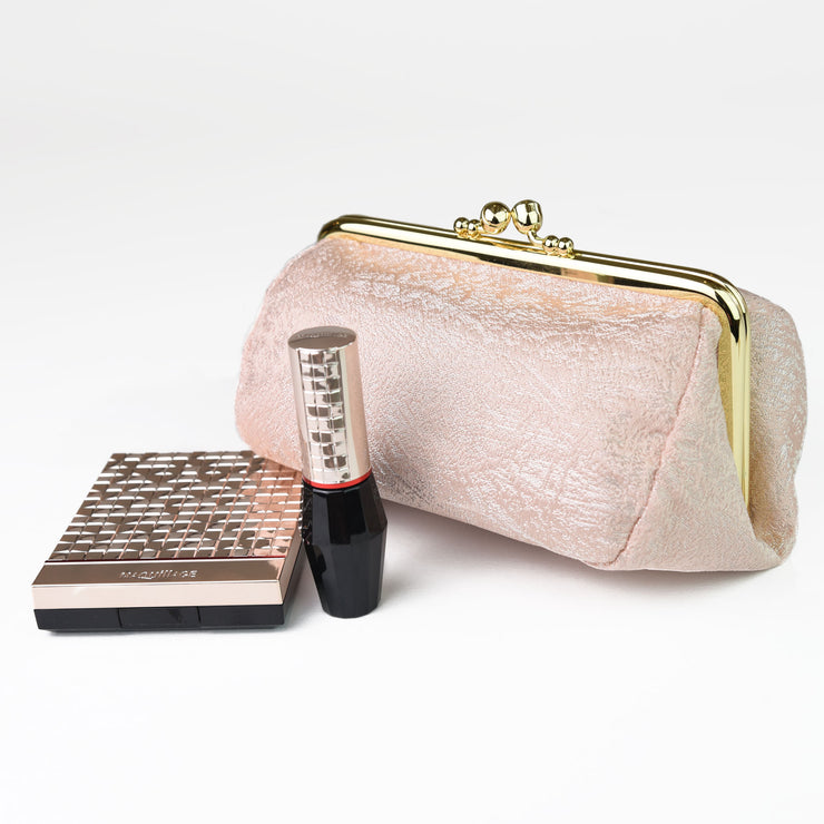 Kiku Silk Brocade Travel Makeup Bag with Cosmetics