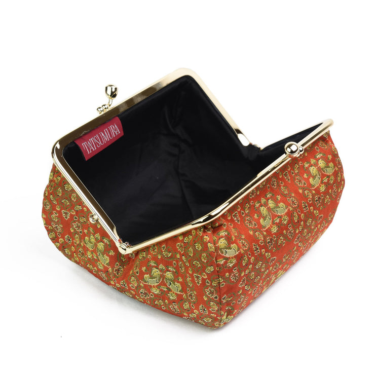 Oshidori Silk Brocade Travel Makeup Bag Interior
