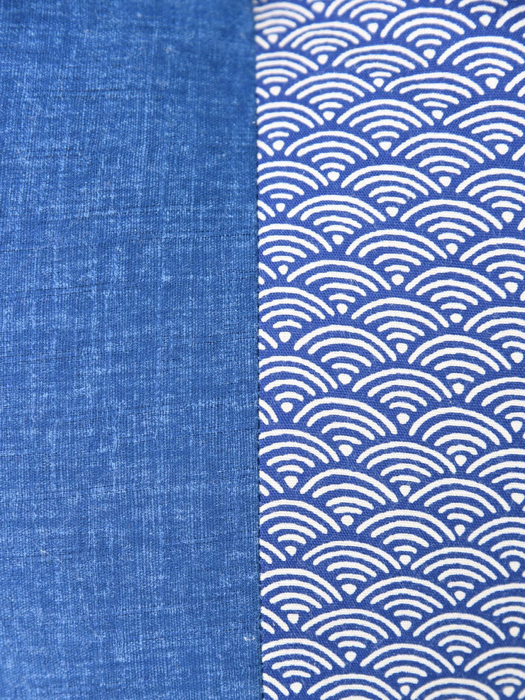 Seigaiha Blue Ojami Zabuton Cushion Cotton Fabric