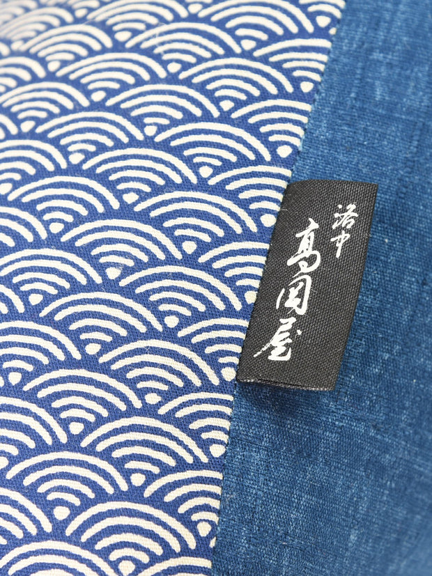 Seigaiha Blue Ojami Zabuton Cushion Label