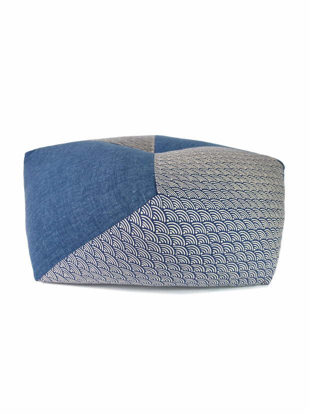 Seigaiha Blue Ojami Thick Zabuton Cushion