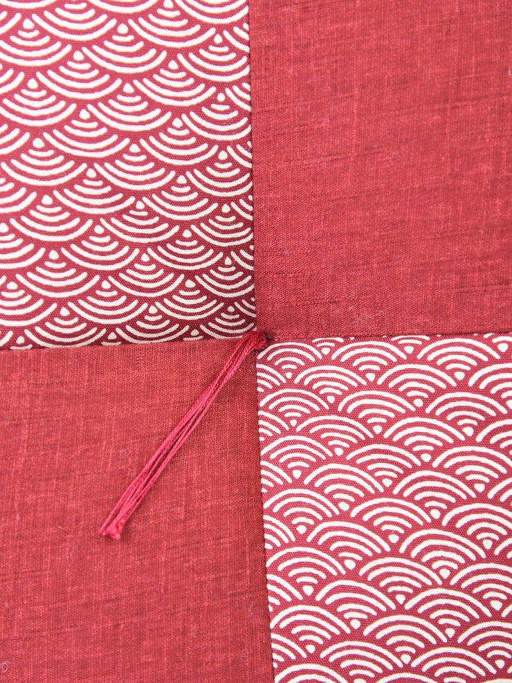 Kyoto Red Ojami Zabuton Cushion Central Stitch