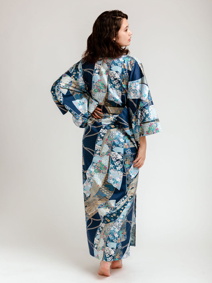 Blue Floral Ribbon Long Kimono Robe Back