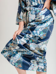 Blue Floral Ribbon Long Kimono Robe Bottom