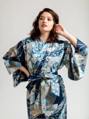 Blue Floral Ribbon Long Kimono Robe Close-Up