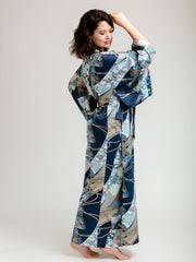 Blue Floral Ribbon Long Kimono Robe Side