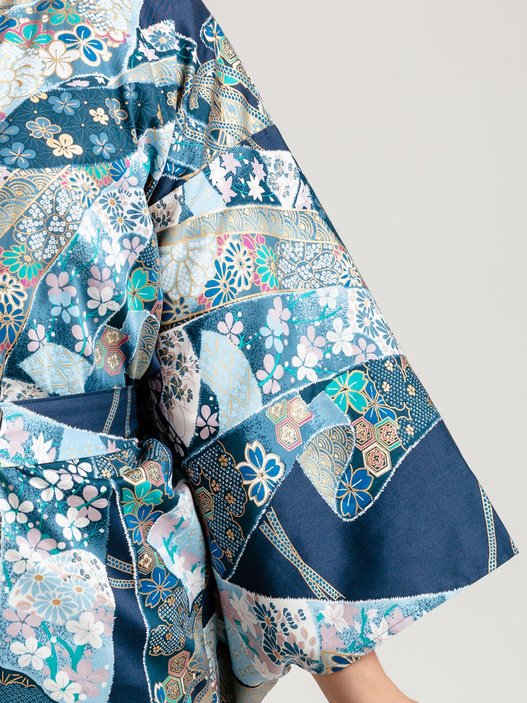 Blue Floral Ribbon Long Kimono Robe Sleeve