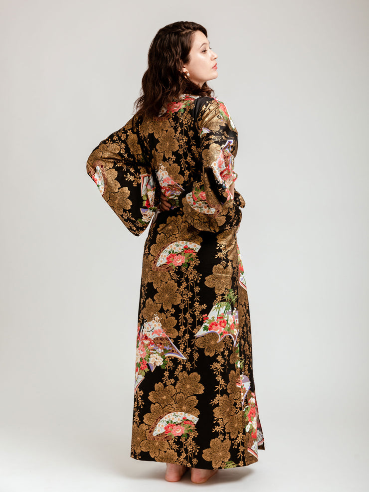 Japanese Gold Long Kimono Robe Back