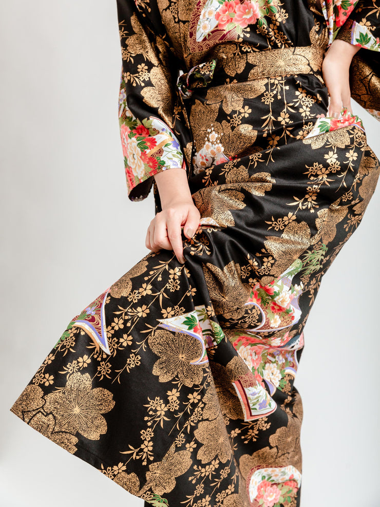 Japanese Gold Long Kimono Robe Bottom