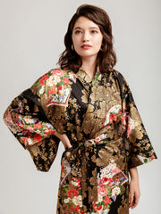Japanese Gold Long Kimono Robe Close-Up