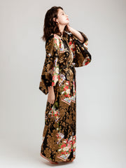 Japanese Gold Long Kimono Robe Side