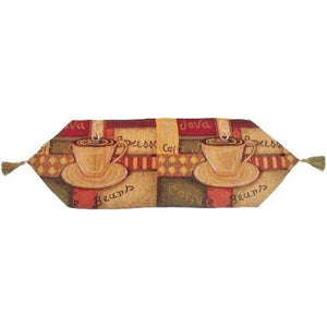 Smell of Coffee Cup Latte Java Tan Brown Red Hand-Crafted Decorative Woven Place Mat Table Runners Cloths (9912)