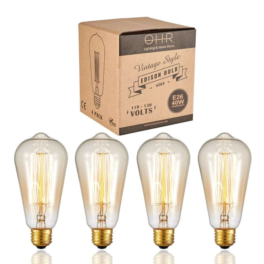 Ohr Lighting® Vintage Style Edison Bulb 40W - 4 PACK