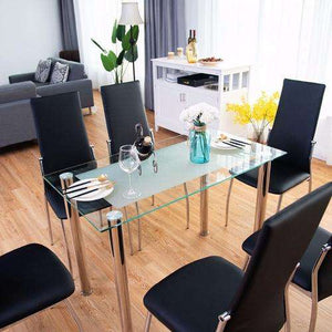 7Pcs Dining Set Tempered Glass Top Table & Chairs