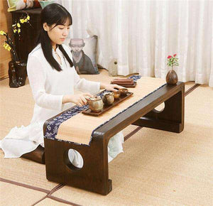 Japanese Style Narrow Wood Coffee + Tea Table