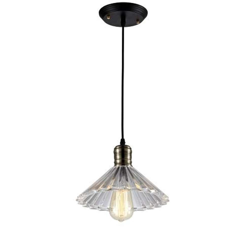 Ribbed Glass Light Pendant - Bulb Included