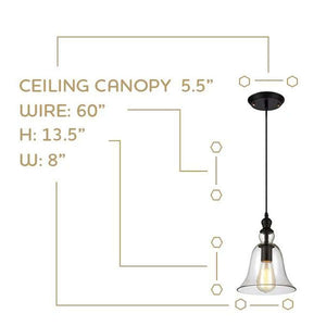 Bell Shaped Pendant Light - Bulb Included