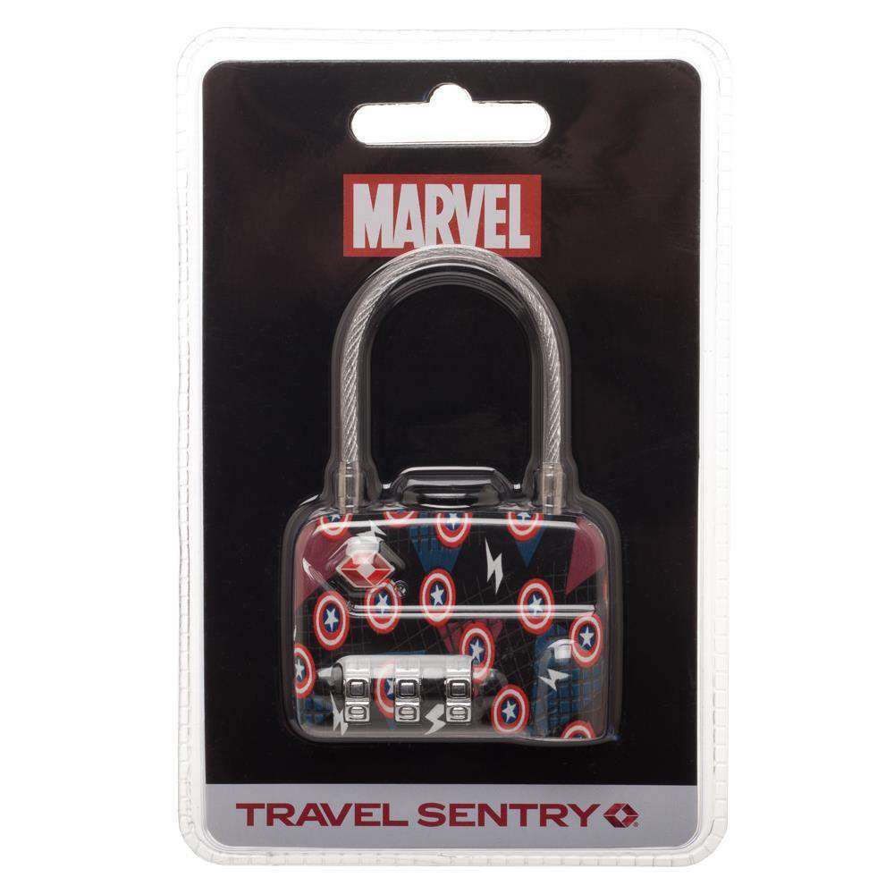 Marvel Comics Captain America Logo TSA Approved Travel Combination Cable Luggage Lock for Suitcase Baggage