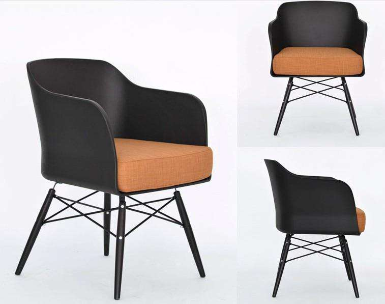 Set of Two Modern Eiffel Style Dining & Living Room Chairs With Cushion