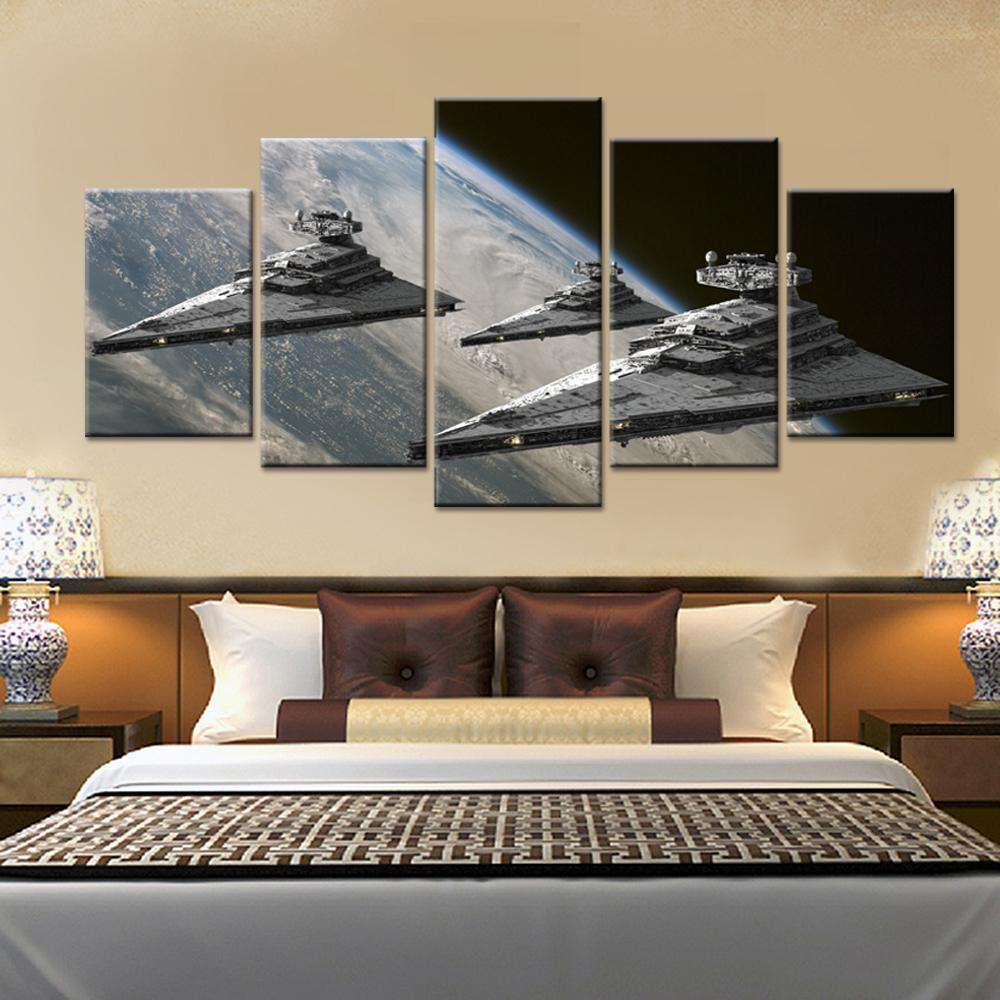 Star Wars 5 Piece Canvas Wall Art | Imperial Star Destroyers on Patrol