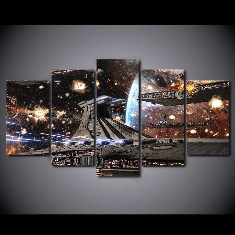Star Wars 5 Piece Canvas Wall Art | Republic Star Destroyer Battle
